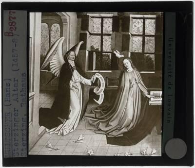 Hans Multscher. Maria Altaar :Detail: Annunciatie aan Maria