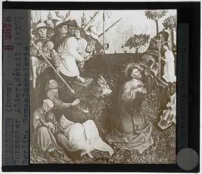 Hans Multscher. Altaar van Wurzach :Paneel links: Christus op de Olijfberg
