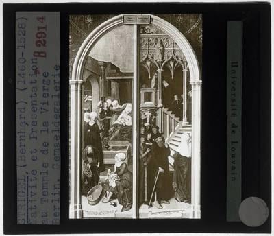 Bernhard Strigel. Maria-altaar van Schussenried :Centraal paneel: De geboorte van Christus. De voorstelling in de tempel
