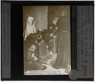 Bernhard Strigel. Familie-altaar uit Mindelheim :Centraal paneel: Zebedeus met Maria Salome, Jacobus de Meerdere en Johannes Evangelist