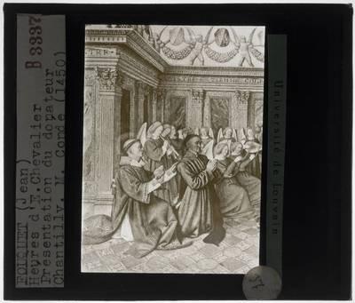 Jean Fouquet. Getijdenboek van Étienne Chevalier :Miniatuur: Etienne Chevalier en Sint-Stefanus bidden voor de maagd Maria
