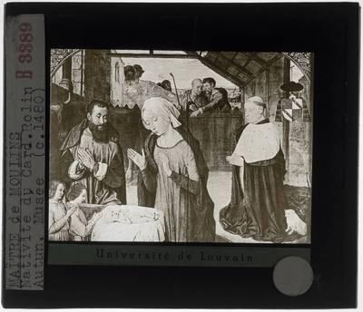 Jean Hey. De geboorte van Christus met portret van kardinaal Rolin