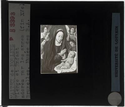 Jean Hey. Maria met Kind door engelen aanbeden