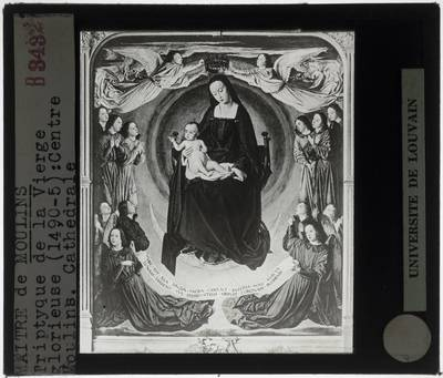 Jean Hey. Triptiek van Moulins :Centraal paneel: De tronende Maria