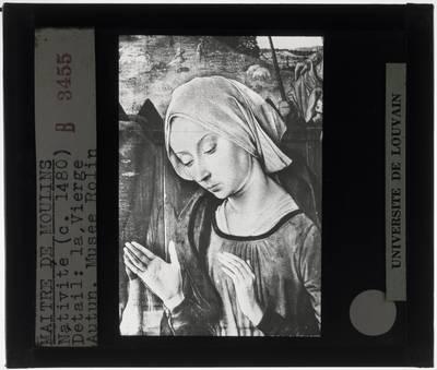 Jean Hey. De geboorte van Christus met portret van kardinaal Rolin :Detail: Maria