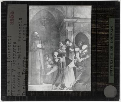 Jean Jouvenet. Paus Nicolaas V laat het graf van Franciscus van Assisi openen in 1449