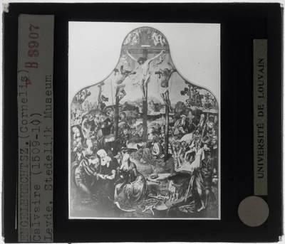 Cornelis Engebrechtsz.. Drieluik Kruisiging van Christus :Centraal paneel: Kruisiging van Christus