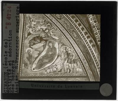 Cimabue. Geboorte van Christus en aanbidding van de herders