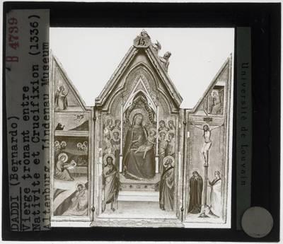 Bernardo Daddi. Tronende Madonna met kind, engelen en heiligen, annunciatie, geboorte van Christus en kruisiging