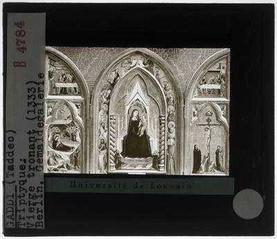 Taddeo Gaddi. Triptiek met tronende Madonna, geboorte van Christus en kruisiging