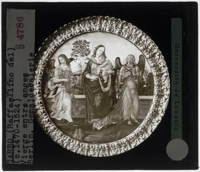 Raffaellino del Garbo. Maria met kind en twee musicerende engelen