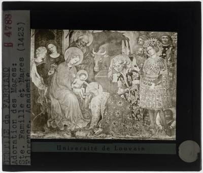 Gentile da Fabriano. De aanbidding der wijzen :Detail: Maria, Jozef en Jezus met de drie wijzen