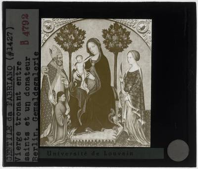 Gentile da Fabriano. Tronende Madonna met kind, heilige en schenkers