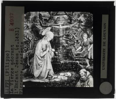 Filippo Lippi. Aanbidding van het kind met heiligen