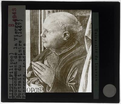 Filippo Lippi. Kroning van Maagd Maria :Detail: Portret van de opdrachtgever
