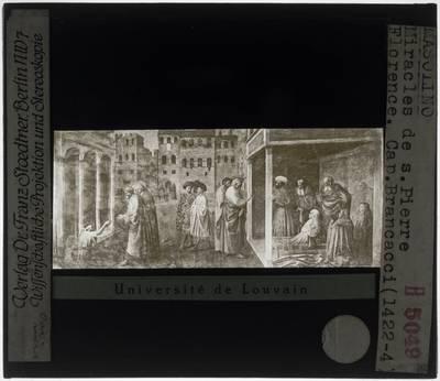 Masolino da Panicale. Genezing van een kreupele door Petrus en Johannes en de verrijzenis van Tabatha