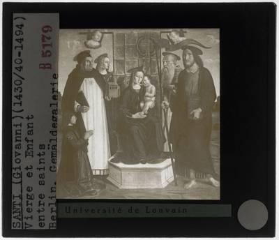 Giovanni Santi. Tronende Maria met kind en heiligen