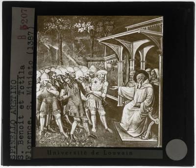 Image from object titled Spinello Aretino. Sint-Benedictus herkent Totila