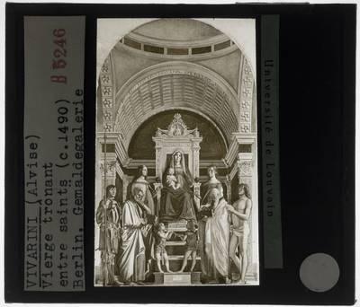 Alvise Vivarini. Tronende Madonna met kind en zes heiligen