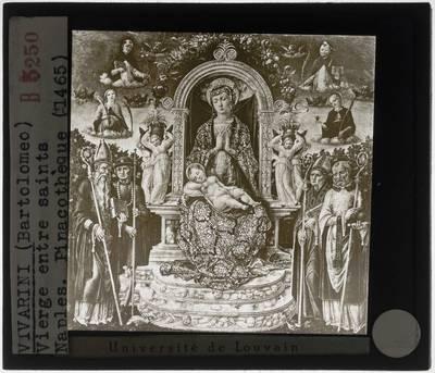 Bartolomeo Vivarini. Tronende Madonna met kind omgeven door heiligen