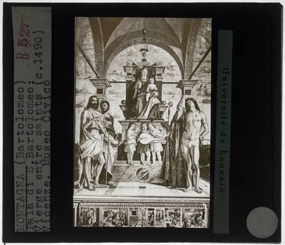 Bartolomeo Montagna. Tronende Madonna met Johannes de Doper, Heilige Bartholomeus, Augustinus en Sebastiaan