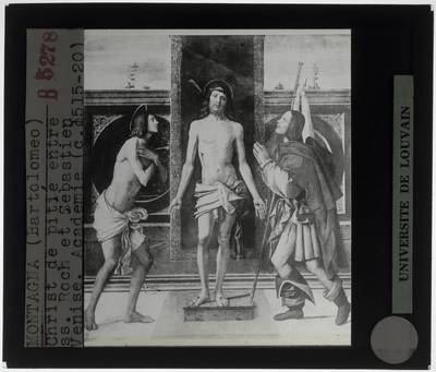 Bartolomeo Montagna. Christus tussen de Heilige Sebastiaan en de Heilige Rochus
