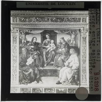 Raffaellino del Garbo. Tronende Madonna met heiligen