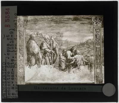 Franciabigio. Ontmoeting van Christus en Johannes de Doper in de woestijn