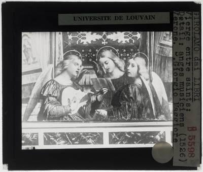 Girolamo dai Libri. Tronende Madonna en kind met Sint-Laurentius Justinianus, Sint-Zeno en musicerende engelen :Detail: Musicerende engelen