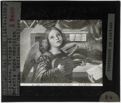 Girolamo dai Libri. Madonna en kind met Sint-Anna :Detail: Musicerende engel