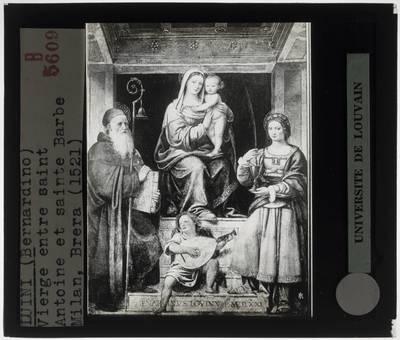Bernardino Luini. Madonna en kind met Sint-Antonius, Sint-Barbara en musicerende engelen