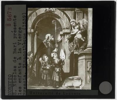 Moretto da Brescia. Getroonde Madonna en kind met Sint-Nicolas van Bari en twee kinderen