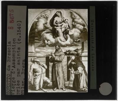 Moretto da Brescia. Tronende Madonna en kind met Sint-Hiëronymus, Sint-Franciscus van Assisi en Sint-Antonius-Abt