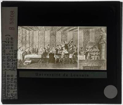 Romanino (toegeschreven). Banket tijdens het bezoek van koning Christian I van Denemarken aan Castello Colleoni