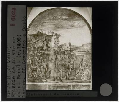 Antonio Solario. Scènes uit het leven van Benedictus :Reis naar Rome