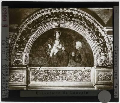 Cesare da Sesto. Madonna en kind met een schenker