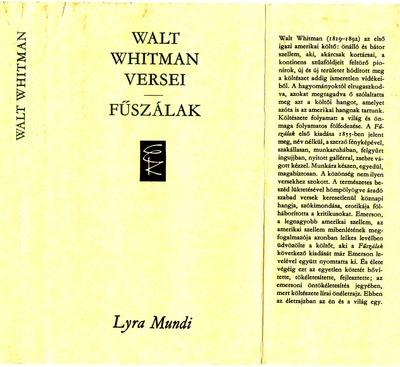 Fűszálak :  Walt Whittman versei