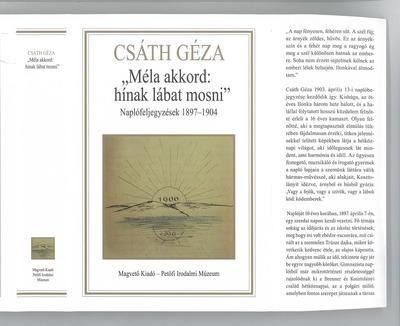 """""""Méla akkord: hínak lábat mosni"""" :  naplófeljegyzések 1897-1904"""