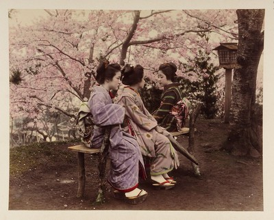 Image from object titled Drei japanische Frauen vor Kirschbaum