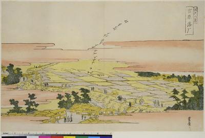 Landende Gänse bei Yoshiwara, aus der Serie: Acht Ansichten von Edo
