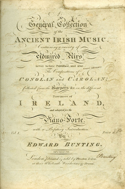 A General Collection of the Ancient Irish Music [1st Published Collection], cover