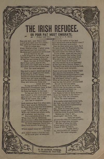 Image from object titled The Irish refugee, or Poor Pat must emigrate : air: Podgee and Rhu / sung by J. S. Berry