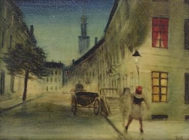 Nächtliches Straßenbild mit Droschke