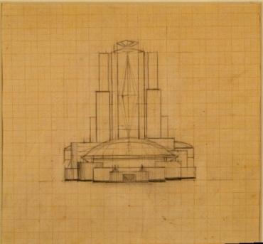 Wettbewerbsentwurf für den Palast der Sowjets. Frontaufriß mit der Fassade des kleinen Saales