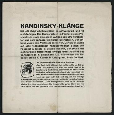"""Werbeblatt für das Buch """"Klänge"""" von Wassily Kandinsky"""