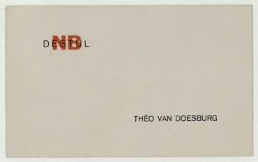 "Visitenkarte ""Théo van Doesburg"" mit ""NB DE STIJL""-Signet"