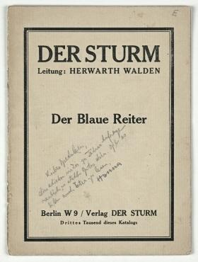 Der Blaue Reiter: Ausstellungskatalog.. 3. Tsd. Berlin: Der Sturm, 1912. S. 3-6, 15-18 (Mittelseiten fehlen).