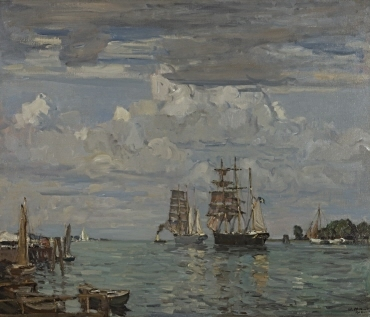 Hafeneinfahrt von Travemünde. Dreimaster im Schlepp