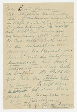 Postkarte von Theo van Doesburg an Raoul Hausmann. Oberweimar