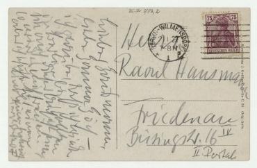 Postkarte von Otto Freundlich an Raoul Hausmann. Berlin